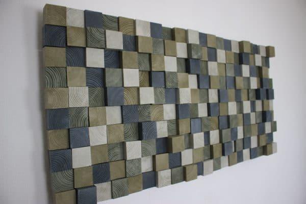 Houten wanddecoratie 4 grijstinten